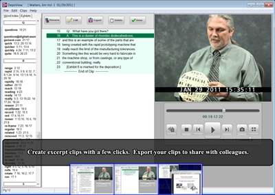 DepoView Deposition Video Synchronizing Slideshow